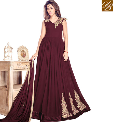 STYLISH BAZAAR NEW MAISHA WINE RED HEAVY INDO-WESTERN GOWN STYLE DRESS FOR PARTIES AND WEDDINGS MSH4201