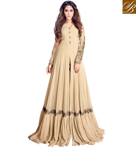 STYLISH BAZAAR BUY NEW MAISHA ETHNIC INDIAN BEIGE GOWN FOR WOMEN IN INDIA ONLINE LATEST WEDDING WEAR COLLECTION MSH4202