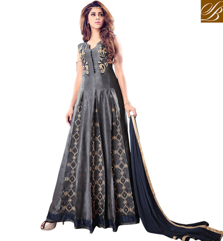 STYLISH BAZAAR SHOP LATEST MAISHA GREY GOWN STYLE DRESS NEW INDIAN BOUTIQUE WEDDING OUTFITS ONLINE MSH4203