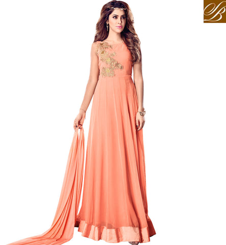 STYLISH BAZAAR MAISHA LAVISH PEACH SEMI STITCHED INDIAN WEDDING GOWN ONLINE SHOPPING FOR WOMEN MSH4204