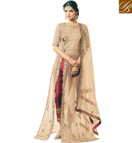 STYLISH BAZAAR Buy Beige maisha side slit bridal kameez with pant style bottom online MSH4502