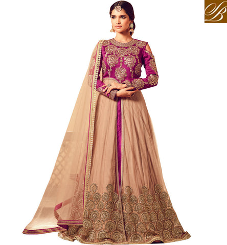 STYLISH BAZAAR Buy violet & beige combo long wedding slit gown best for wedding & Eid MSH4504