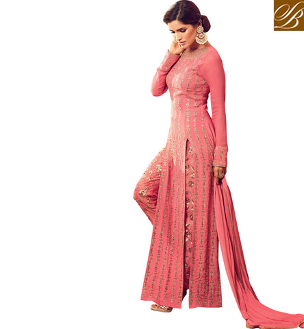 STYLISH BAZAAR Shop dark pink long bridal slit heavy embroidered kameez for women online MSH4505