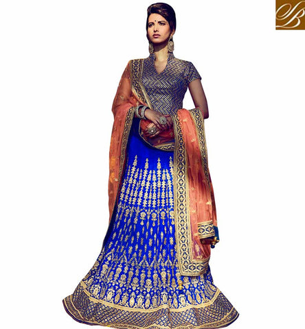 STYLISH BAZAAR GRACEFUL LEHANGA CHOLI FOR WOMEN DESIGNER LEHENGA CHOLI ONLINE SHOPPING DESIGNER WEDDING WEAR LONG CHOLI LEHENGA NKBRC10012