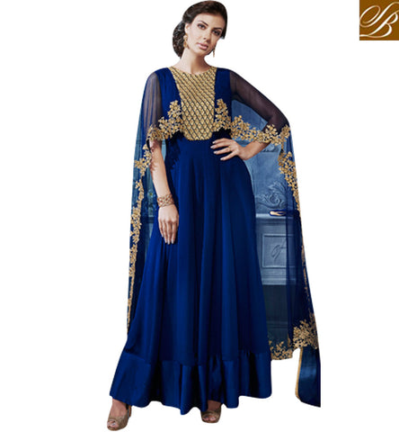 STYLISH BAZAAR Blue navy blue nakashi embroidered wedding net gown latest eid dresses NKECH3054