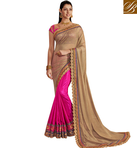 STYLISH BAZAAR BUY ONLINE SHOPPING BOLLYWOOD SAREE SILK SARI ONLINE FOR WEDDING SILK HALF AND HALF SAREES COLLECTION NKEMB4059
