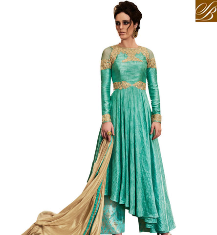 STYLISH BAZAAR AMAZING SEA GREEN BHAGALPURI SILK PARTY WEAR ANARKALI SLAWAR SUIT HAVING PRINTED BOTTOM NKEMP3043
