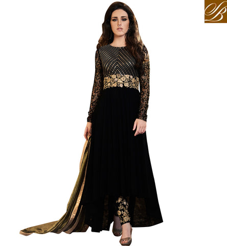 STYLISH BAZAAR SIGNIFICANT BLACK GEORGETTE HAVING GEOMETRICS EMBROIDERY PARTY WEAR ANARKALI SUIT NKEMP3045