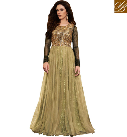 STYLISH BAZAAR MAGNIFICENT BEIGE NET HAVING RASSEL AND SANTOON DESIGNER GOWN STYLE SALWAR SUIT WITH EMBROIDERY NKEMP3047