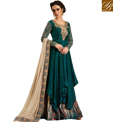 STYLISH BAZAAR BUY GREEN BHAGALPURI FABRIC HAVING HEAVY NECKLESS EMBROIDERY WITH ALL OVER PRINTED BOTTOM NKEMP3048