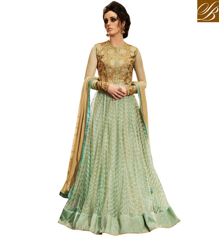 STYLISH BAZAAR ELEGANT PISTA GREEN NET DESIGNER PARTY WEAR GOWN STYLE SUIT WITH HEAVY LACE AT EDGES NKEMP3049
