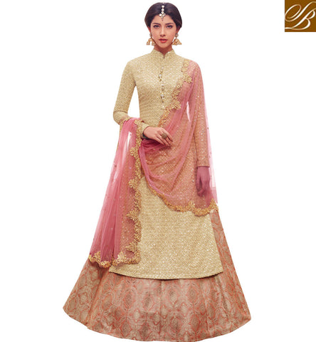 STYLISH BAZAAR BUY PEACH COLOR INDIAN DESIGNER LEHENGA KAMEEZ FOR WOMEN ONLINE BY NAKASSHI NKENC11044