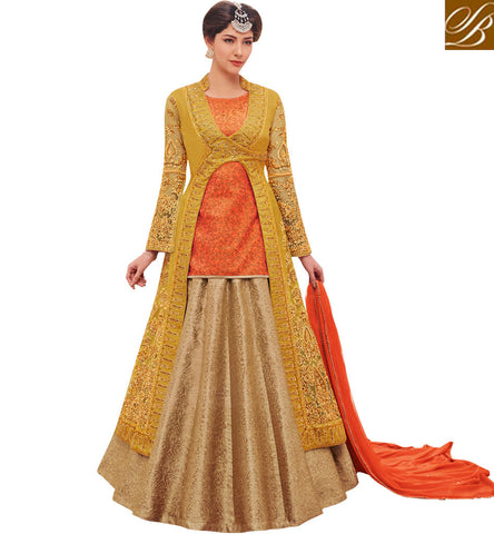 STYLISH BAZAAR SHOP BEIGE N YELLOW JACKET STYLE GHAGRA KAMEEZ PARTY FESTIVE SUIT ONLINE NAKASSHI COLLECTION -NKENC11046