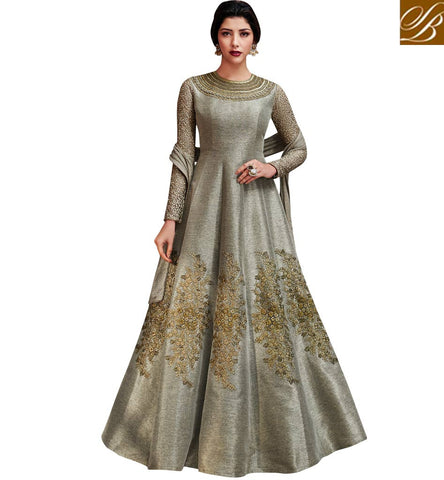 STYLISH BAZAAR INDIAN LONG GREY EMBROIDERED GOWN FOR WOMEN LATEST PARTY AND WEDDING WEAR DESIGNS ONLINE NKENC11047