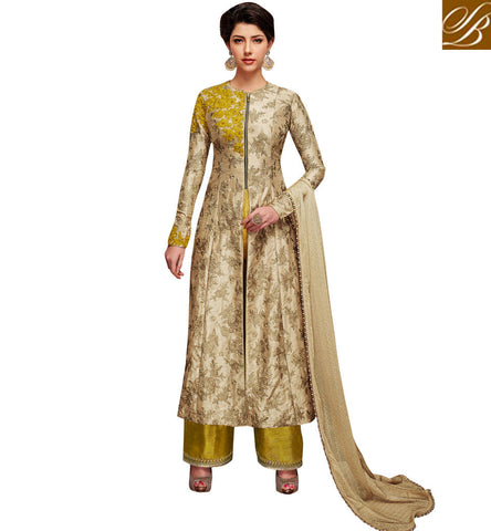 STYLISH BAZAAR BUY JACKET STYLE SILK BEIGE N YELLOW WEDDING WEAR SALWAAR KAMEEZ FOR WOMEN IN INDIA NKENC11048
