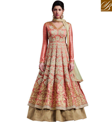 STYLISH BAZAAR DUSTY PINK INDIAN DESIGNER GOWN WITH BEIGE GHAGHRA LATEST WEDDING FASHION OF STYLISH BAZAAR NKENC11050