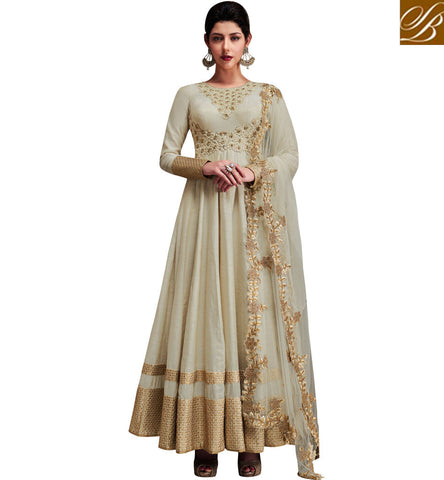 STYLISH BAZAAR SHOP NEW WHITE INDIAN HEAVILY EMBROIDERED WEDDING GOWN FOR WOMEN IN INDIA ONLINE NKENC11051