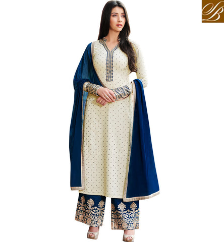 STYLISH BAZAAR Off White Georgette long kameez with blue or dark pink palazzo option NKENG1022A