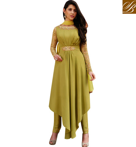 STYLISH BAZAAR Unique cut women suit gown dresses for EID in two colors green& beige NKENG1024A