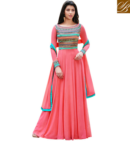 STYLISH BAZAAR Indowestern gown with 2 color options Blue and peach Islamic Eid dress NKENG1026A and NKENG1026B