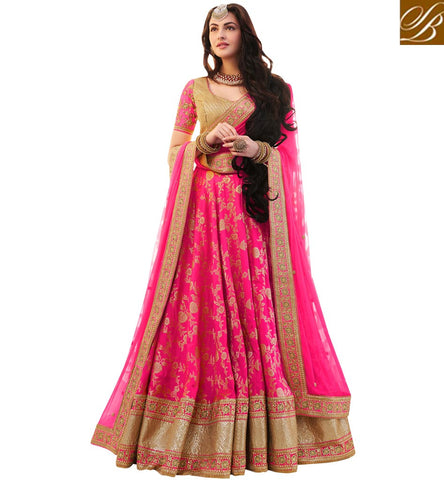 STYLISH BAZAAR BUY LATEST HEAVY DESIGNER PINK LEHENGA CHOLI FOR WOMEN IN INDIA ONLINE LATEST WEDDING DRESSES NKENH5074