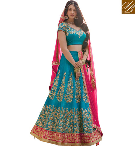 STYLISH BAZAAR BUY NOW SKY BLUE LEHENGA CHOLI WEDDING WEAR ZOYA NAKASHI ENHANCE DRESS ONLINE NKENH5078