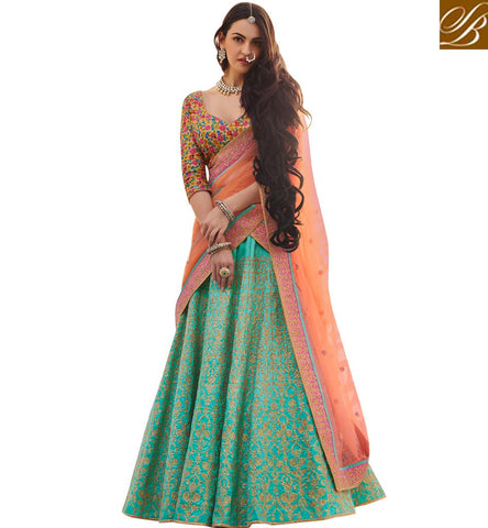 STYLISH BAZAAR INDO-WESTERN LEHENGA CHOLI DESIGN FOR WOMEN ONLINE SHOPPING NAKSAHI ZOYA ELEGANCE AT STYLISH BAZAAR NKENH5081