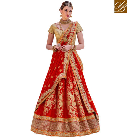 STYLISH BAZAAR SHOP FIERY RED GHAGHRA WITH BEIGE CHOLI AT STYLISH BAZAAR NEW ELEGANCE OF ZOYA NAKASHI NKENH5084