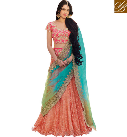 STYLISH BAZAAR BUY ONLINE SIZZLING PINK LEHENGA CHOLI AT STYLISH BAZAAR ELEGANCE OF ZOYA NAKASHI NKENH5085