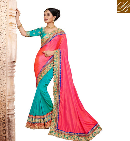 STYLISH BAZAAR Buy peach and blue half saree with blue blouse design online collection NKEUP4070