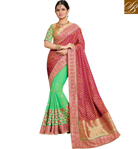 Shop Nakkashi green and red half designer party and wedding wear saree NKEUP4071