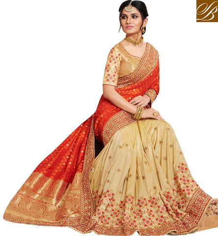 Buy orange & beige designer bridal wear saree new Nakkashi sari 2017 NKEUP4072