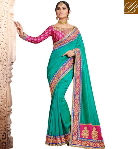 Shop handloom silk single color blue saree with Dupion pink blouse NKEUP4075