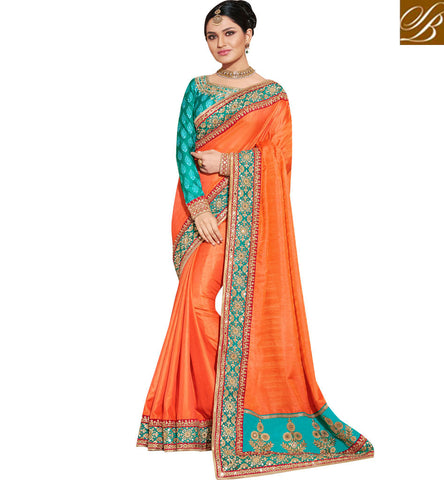 Buy Orange silk single color wedding short pallu sari with blue blouse NKEUP4076