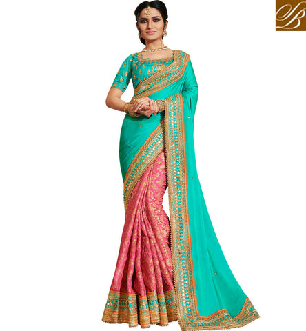 STYLISH BAZAAR Buy Pink & blue half wedding sari with light blue designer blouse online NKEUP4077