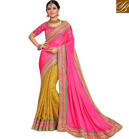 New baby pink & yellow half bridal sari with pink blouse online saree NKEUP4078