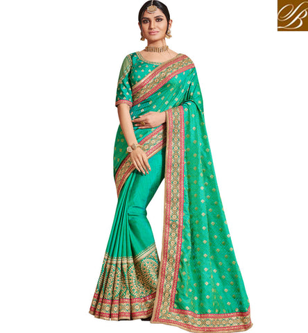 All green designer embroidered marriage silk saree with dupion blouse NKEUP4079