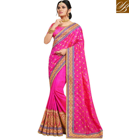 Single color pink bridal silk sari with dupion blouse for US, UK women NKEUP4080