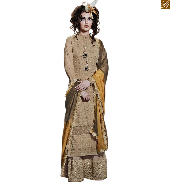 TRADITIONAL PARTY WEAR DESIGNER SALWAAR KAMEEZ NKFG11009 BEIGE