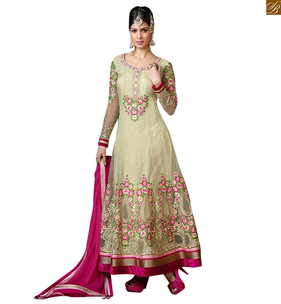 Cream net beautiful floral embroidered long anarkali salwar kameez