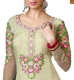 cream color and pink embroidery makes it look stunning. Same work on lower part of the kameez making it look awesome and lace border line is also provided at lower part. The pink bottom is made of Santoon and dupatta is made of chiffon with lace border
