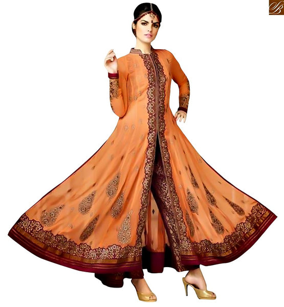 FROM THE HOUSE  OF STYLISH BAZAAR REMARKABLE JACKET STYLE ORANGE SALWAAR KAMEEZ DESIGN FOR PARTIES NKMHK15001