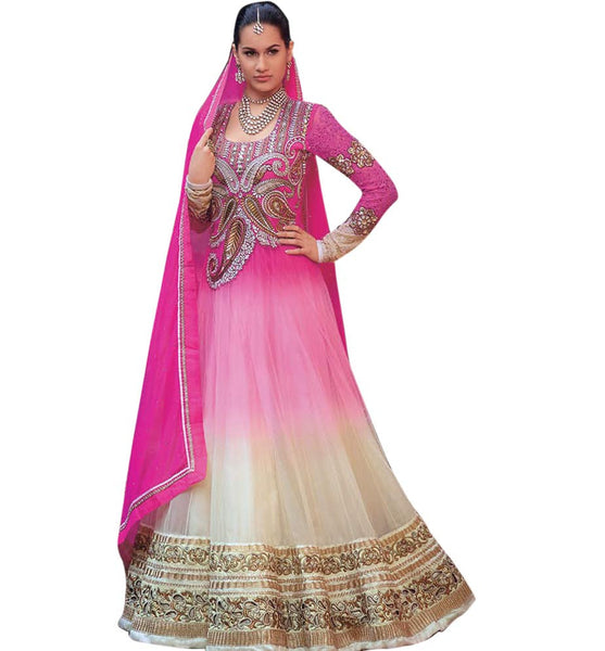 WEDDING WEAR ANARKALI DRESS PEPPY PINK AND CREAM