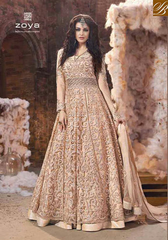 STYLISH BAZAAR ELEGANT PEACH WELL EMBROIDERED NET ZOYA DESIGNER SUIT WITH DUAL BOTTOM PFEM18001