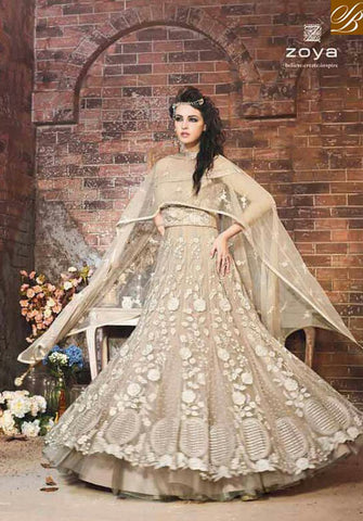 STYLISH BAZAAR BEAUTIFUL CREAM NET ZOYA DESIGNER ANARKALI SALWAR SUIT WITH EYE CATCHING EMBROIDERY PFEM18003