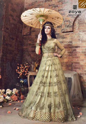 STYLISH BAZAAR WONDERFUL BEIGE NET ZOYA HEAVY EMBROIDERED DESIGNER SUIT HAVING DUAL BOTTOM PFEM18004