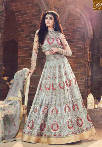 STYLISH BAZAAR STUNNING SKY BLUE NET ZOYA DESIGNER SUIT HAVING WELL DESIGNED LEHENGA STYLE PFEM18005