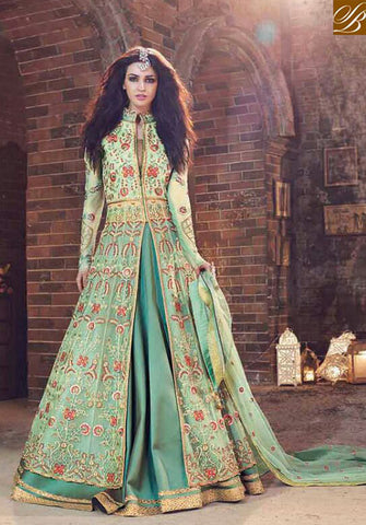 STYLISH BAZAAR DELIGHTFUL GREEN NET ZOYA DESIGNER SUIT HAVING DUAL BOTTOM WITH SLIT FROM THE MIDDLE PFEM18006