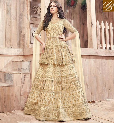 STYLISH BAZAAR Zoya engaged beige long choli lehenga Bollywood style embroidered outfit PFENG21001