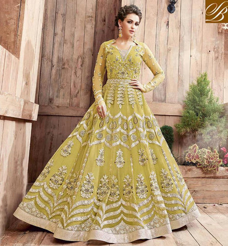 yellow latest designer zoya engaged ramadaan eid indowestern gown PFENG21003